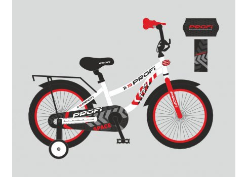 Детский двухколесный велосипед Space Profi 18 дюймов, T18154 бело-красный
