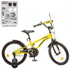 Детский двухколесный велосипед 18 дюймов PROFI Shark Y18214-1 желто-черный