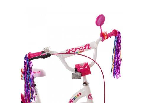 Детский двухколесный велосипед 16 дюймов Profi Bloom Y1625 бело-малиновый