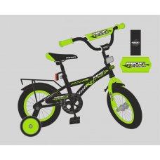 Детский двухколесный велосипед Racer Profi 18 дюймов, T1837 черно-салатовый