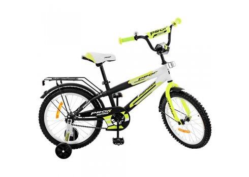 Детский двухколесный велосипед Inspirer Profi 18 дюймов, G1854 черно-бело-салатовый (матовый)