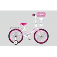 Детский двухколесный велосипед Profi Flower 18 дюймов, Y1885 бело-розовый