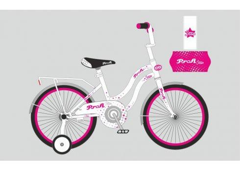 Детский двухколесный велосипед Profi Star 18 дюймов, Y1894 бело-малиновый