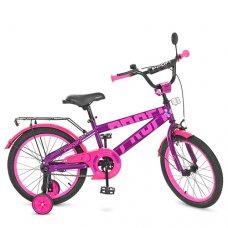 Детский двухколесный велосипед Flash Profi 18 дюймов, T18174 фиолетово-розовый