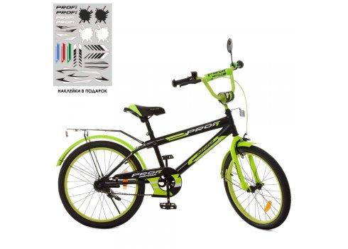 Детский двухколесный велосипед Profi Inspirer 20 дюймов SY2051 черно-салатовый матовый