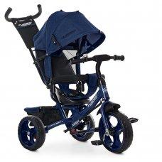 Детский трехколесный велосипед с ручкой TURBOTRIKE M 3113-11L темно-синий