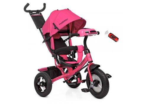 Трехколесный велосипед на надувных колесах с игровой панелью, Turbotrike M 3115-6HA розовый