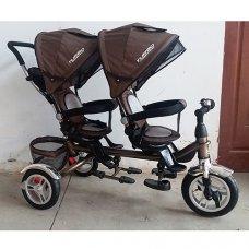 Трехколесный велосипед на надувных колесах, двухместный, Turbotrike DUOS M 3116TW-13A шоколад