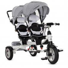 Трехколесный велосипед для двойни TURBOTRIKE DUOS M 3116TWA-19 серый