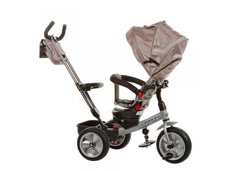 Трехколесный велосипед с поворотным сиденьем и игровой панелью, на надувных колесах, Turbotrike M 3204HA-2 серый