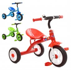 Детский трехколесный велосипед Profi Kids M 3252 зеленый, синий и красный