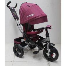 Трехколесный велосипед с поворотным сиденьем и регулируемым наклоном спинки Crosser T400 TRINITY AIR, бордовый