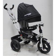 Трехколесный велосипед с поворотным сиденьем и регулируемым наклоном спинки Crosser T400 TRINITY AIR, черный