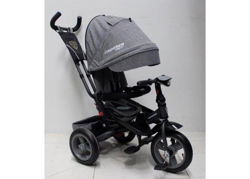 Трехколесный велосипед с поворотным сиденьем и регулируемым наклоном спинки Crosser T400 TRINITY ECO AIR, светло-серый