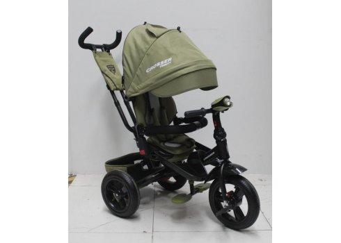 Трехколесный велосипед с поворотным сиденьем и регулируемым наклоном спинки Crosser T400 TRINITY AIR, хаки