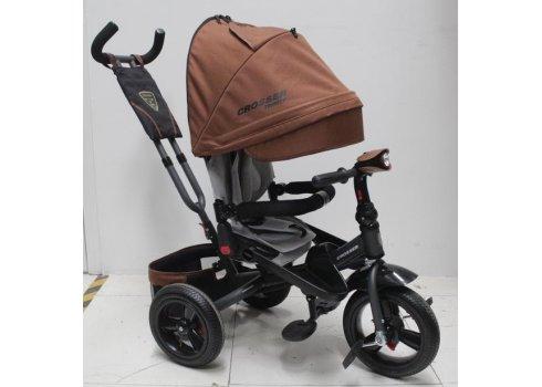 Трехколесный велосипед с поворотным сиденьем и регулируемым наклоном спинки Crosser T400 TRINITY AIR, коричневый