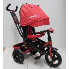 Трехколесный велосипед с поворотным сиденьем и регулируемым наклоном спинки Crosser T400 TRINITY AIR, красный