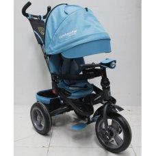 Трехколесный велосипед с поворотным сиденьем и регулируемым наклоном спинки Crosser T400 TRINITY AIR, лазурный