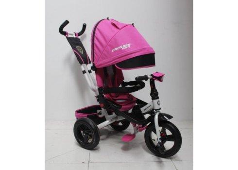 Трехколесный велосипед с поворотным сиденьем и регулируемым наклоном спинки Crosser T400 TRINITY AIR, розовый