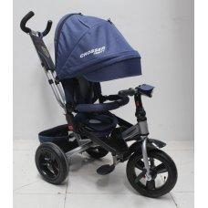 Трехколесный велосипед с поворотным сиденьем и регулируемым наклоном спинки Crosser T400 TRINITY AIR, синий