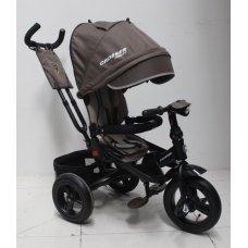 Трехколесный велосипед с поворотным сиденьем и регулируемым наклоном спинки Crosser T400 TRINITY AIR, шоколадный