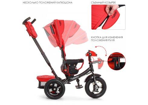 Трехколесный велосипед с фарой и пультом Turbotrike M 4060-1 красный