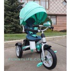 Трехколесный велосипед с фарой и поворотным сиденьем Crosser T503 AIR, бирюза