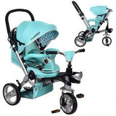УЦЕНКА! Трехколесный велосипед- коляска с родительской ручкой M AL3645-14 мята